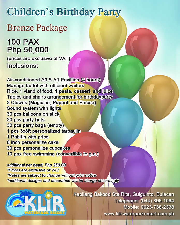 Event packages klir watepark resort guiguinto bulacan for Balloon decoration for birthday party philippines