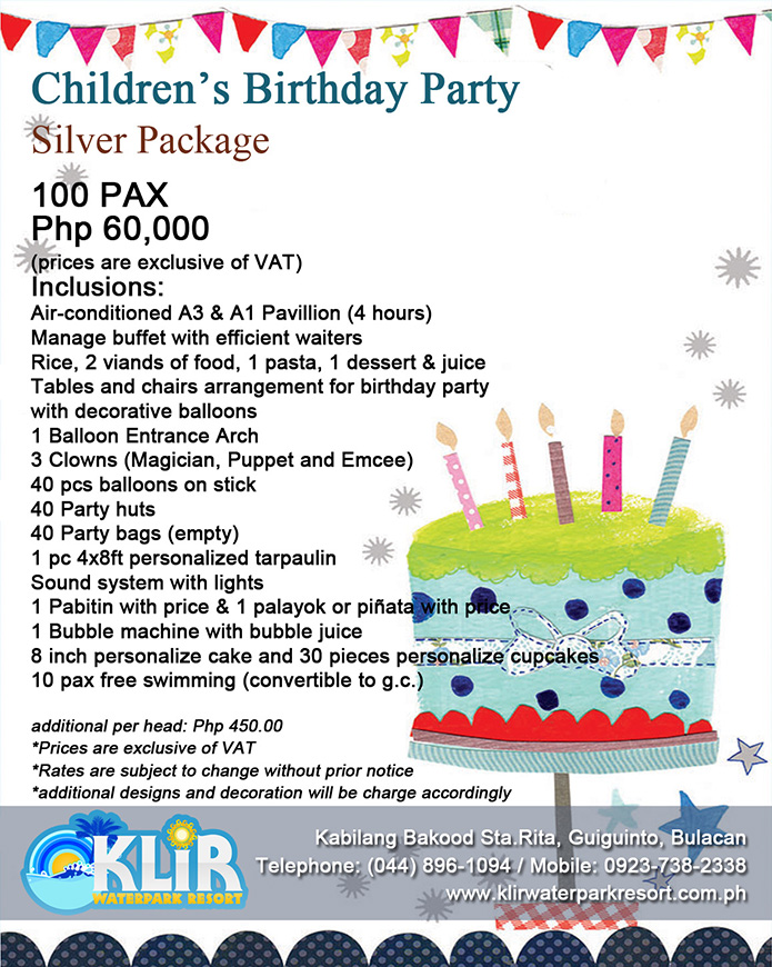 Event Packages Klir Watepark Resort Guiguinto Bulacan Philippines